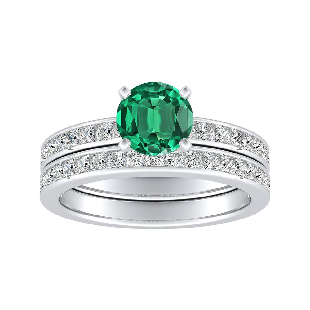 JOAN Classic Green Emerald Wedding Ring Set In 14K White Gold With 0.50 Carat Round Stone