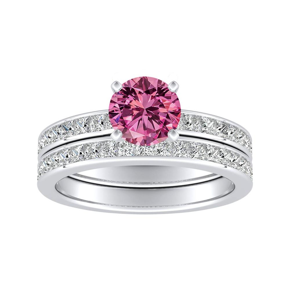 JOAN Classic Pink Sapphire Wedding Ring Set In 14K White Gold With 0.50 Carat Round Stone