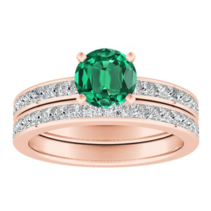 JOAN Classic Green Emerald Wedding Ring Set In 14K Rose Gold With 0.50 Carat Round Stone
