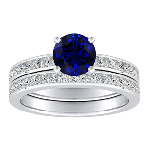 JOAN Classic Blue Sapphire Wedding Ring Set In 14K White Gold With 0.50 Carat Round Stone