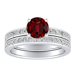 JOAN Classic Ruby Wedding Ring Set In 14K White Gold With 0.50 Carat Round Stone