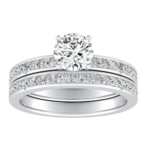 JOAN Classic Diamond Wedding Ring Set In 14K White Gold With 0.50ct. Round Diamond