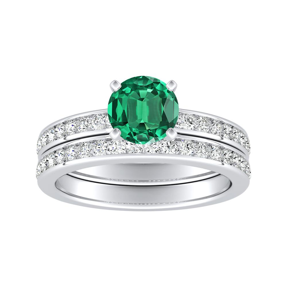 ALENA Classic Green Emerald Wedding Ring Set In 14K White Gold With 0.50 Carat Round Stone