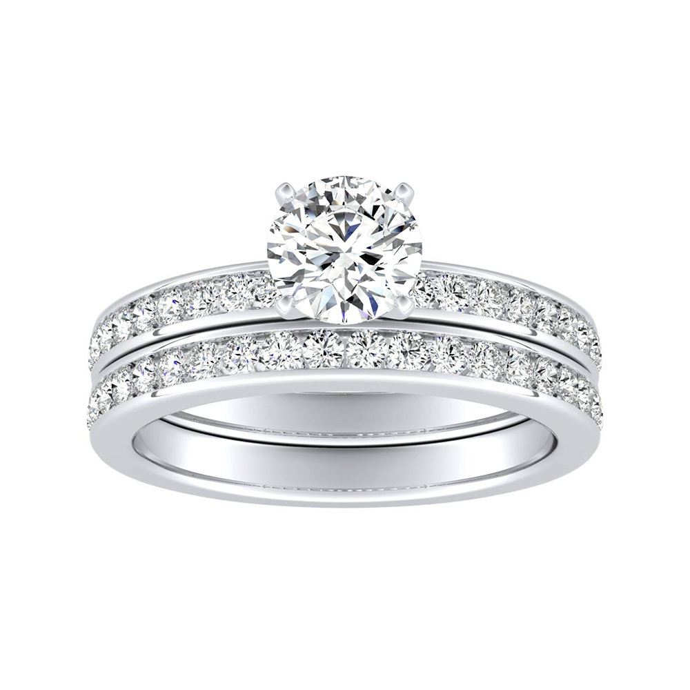 ALENA Classic Diamond Wedding Ring Set In 14K White Gold