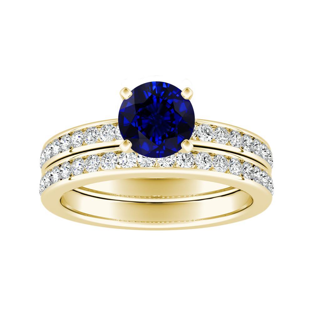 Blue Sapphire Wedding Rings | Alena Classic Blue Sapphire Wedding Ring Set In 18k Yellow Gold With