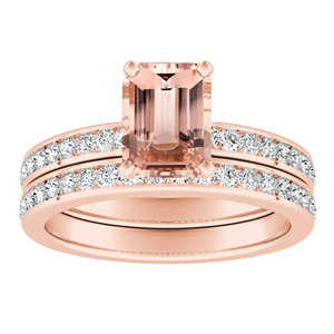 ALENA Classic Morganite Wedding Ring Set In 14K Rose Gold With 1.00 Carat Emerald Stone