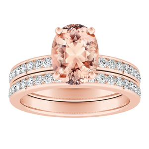 ALENA Classic Morganite Wedding Ring Set In 14K Rose Gold With 1.00 Carat Oval Stone