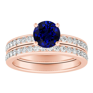 ALENA Classic Blue Sapphire Wedding Ring Set In 14K Rose Gold With 0.50 Carat Round Stone