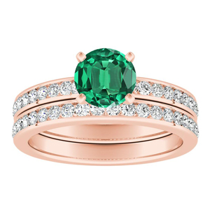 ALENA Classic Green Emerald Wedding Ring Set In 14K Rose Gold With 0.50 Carat Round Stone