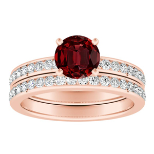 ALENA Classic Ruby Wedding Ring Set In 14K Rose Gold With 0.50 Carat Round Stone