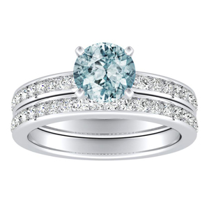 ALENA  Classic  Aquamarine  Wedding  Ring  Set  In  14K  White  Gold  With  1.00  Carat  Round  Stone