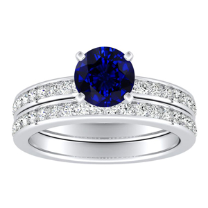 ALENA  Classic  Blue  Sapphire  Wedding  Ring  Set  In  14K  White  Gold  With  0.50  Carat  Round  Stone