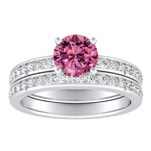 ALENA  Classic  Pink  Sapphire  Wedding  Ring  Set  In  14K  White  Gold  With  0.50  Carat  Round  Stone