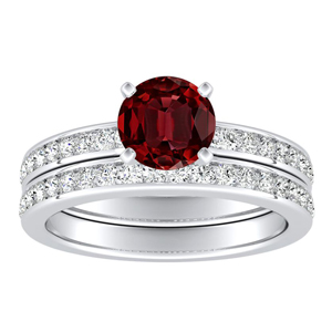 ALENA  Classic  Ruby  Wedding  Ring  Set  In  14K  White  Gold  With  0.50  Carat  Round  Stone