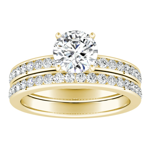 ALENA  Classic  Moissanite  Wedding  Ring  Set  In  14K  Yellow  Gold  With  0.50  Carat  Round  Stone