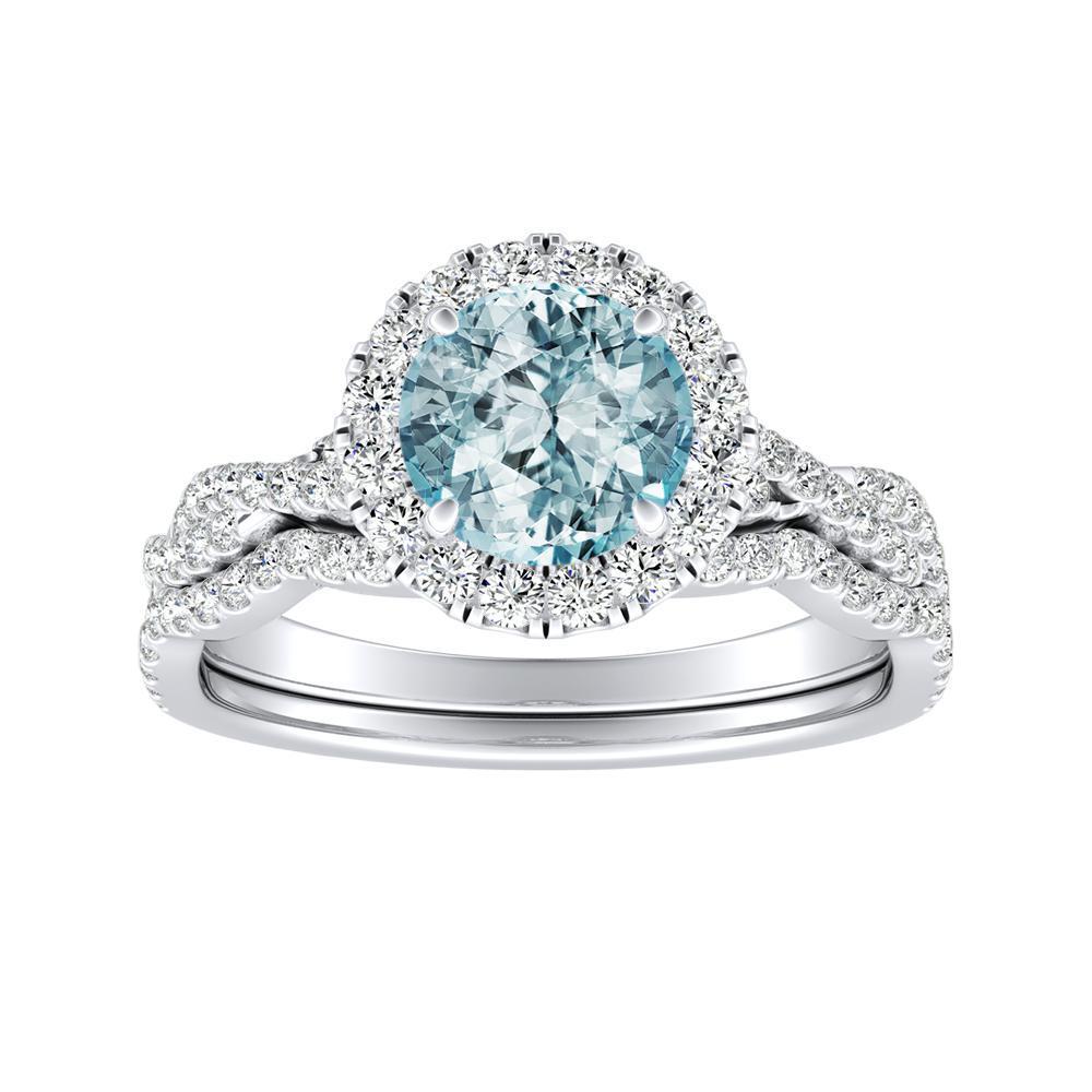 ALICE Halo Aquamarine Wedding Ring Set In 14K White Gold With 1.00 Carat Round Stone