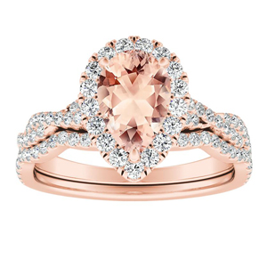 ALICE Halo Morganite Wedding Ring Set In 14K Rose Gold With 1.00 Carat Pear Stone