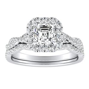 ALICE Halo Diamond Wedding Ring Set In 14K White Gold