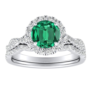 ALICE Halo Green Emerald Wedding Ring Set In 14K White Gold With 0.50 Carat Round Stone
