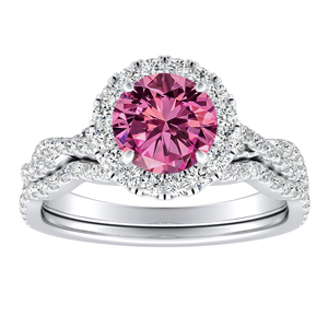 ALICE Halo Pink Sapphire Wedding Ring Set In 14K White Gold With 0.50 Carat Round Stone