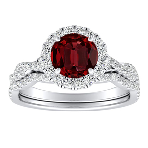ALICE Halo Ruby Wedding Ring Set In 14K White Gold With 0.50 Carat Round Stone