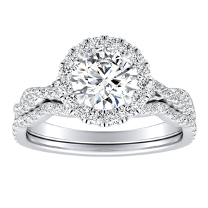 ALICE Halo Diamond Wedding Ring Set In 14K White Gold
