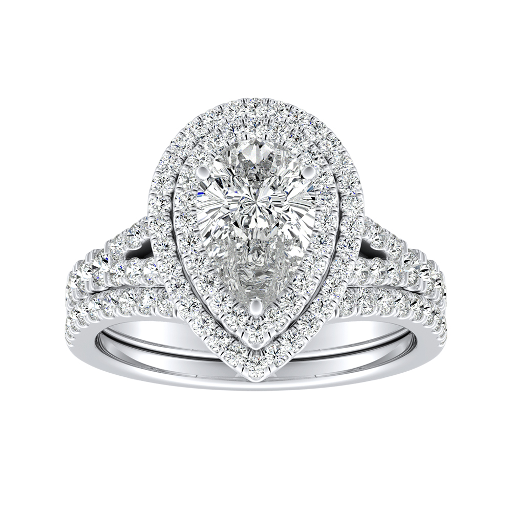 ALYSSA Double Halo Diamond Wedding Ring Set In 14K White Gold