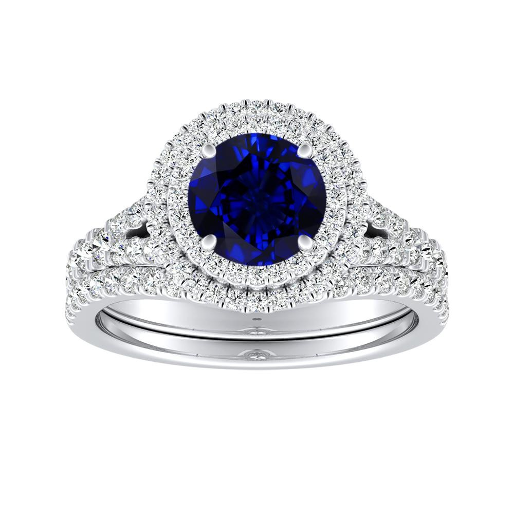ALYSSA Double Halo Blue Sapphire Bridalset In 14K White Gold With 0.50 Carat Round Stone