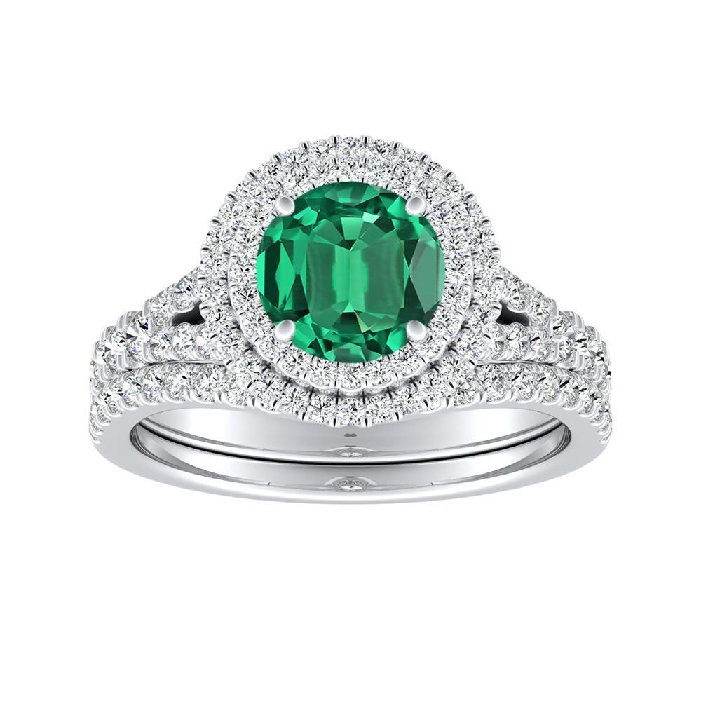ALYSSA Double Halo Green Emerald Bridalset In 14K White Gold With 0.50 Carat Round Stone