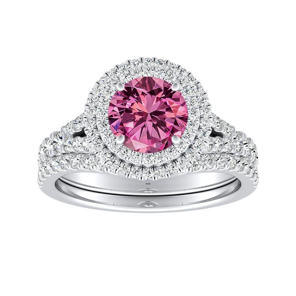 ALYSSA Double Halo Pink Sapphire Bridalset In 14K White Gold With 0.50 Carat Round Stone
