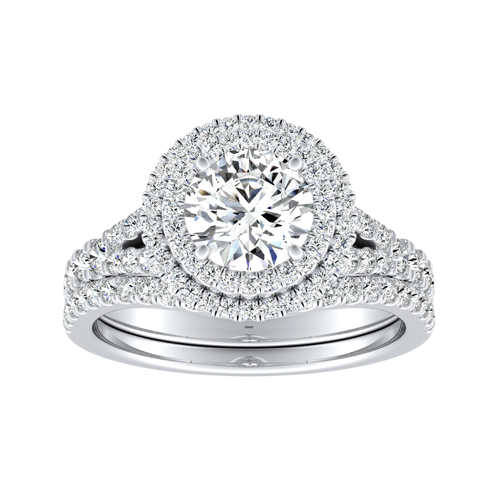 ALYSSA Double Halo Diamond Wedding Ring Set In 14K White Gold