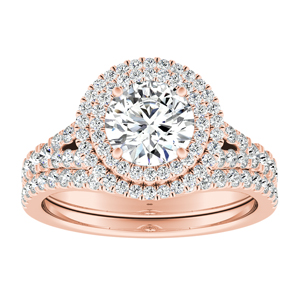 ALYSSA Double Halo Diamond Wedding Ring Set In 14K Rose Gold With 0.50ct. Round Diamond