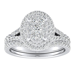 ALYSSA Double Halo Diamond Wedding Ring Set In 14K White Gold With Oval Diamond In H-I SI1-SI2 Quality