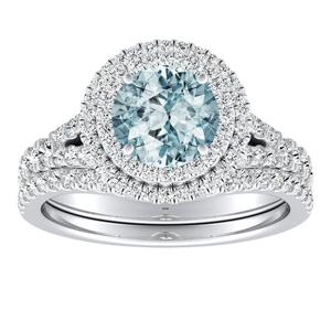 ALYSSA  Double  Halo  Aquamarine  Bridalset  In  14K  White  Gold  With  1.00  Carat  Round  Stone