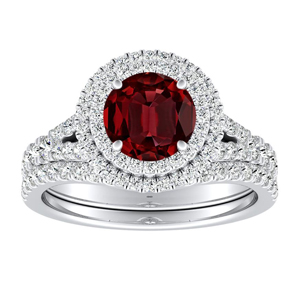 ALYSSA  Double  Halo  Ruby  Bridalset  In  14K  White  Gold  With  0.50  Carat  Round  Stone