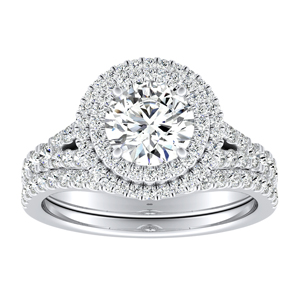 ALYSSA Double Halo Diamond Wedding Ring Set In 14K White Gold With 0.50ct. Round Diamond