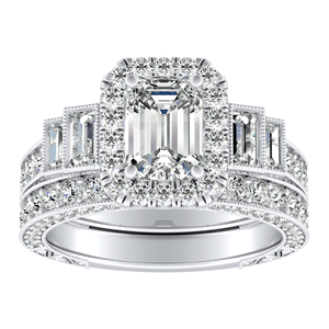 FAITH Vintage Diamond Wedding Ring Set In 14K White Gold
