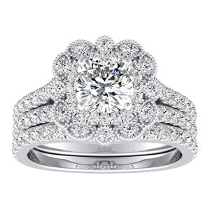JASMINE Halo Diamond Wedding Ring Set In 14K White Gold