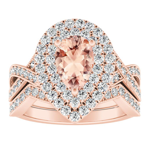 NATALIA Double Halo Morganite Wedding Ring Set In 14K Rose Gold With 1.00 Carat Pear Stone