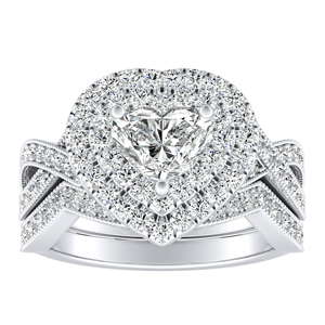 NATALIA Double Halo Diamond Wedding Ring Set In 14K White Gold