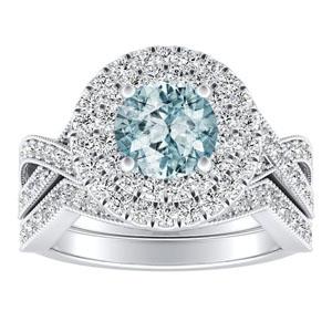 NATALIA Double Halo Aquamarine Wedding Ring Set In 14K White Gold With 1.00 Carat Round Stone