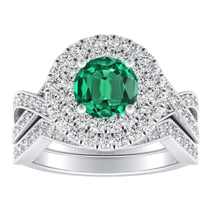 NATALIA Double Halo Green Emerald Wedding Ring Set In 14K White Gold With 0.50 Carat Round Stone