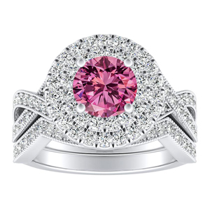 NATALIA Double Halo Pink Sapphire Wedding Ring Set In 14K White Gold With 0.50 Carat Round Stone