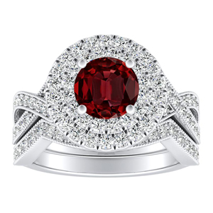 NATALIA Double Halo Ruby Wedding Ring Set In 14K White Gold With 0.50 Carat Round Stone