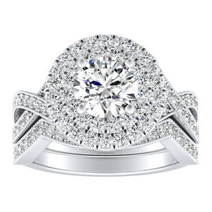 NATALIA Double Halo Diamond Wedding Ring Set In 14K White Gold