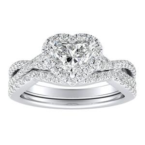TAYLOR Halo Diamond Wedding Ring Set In 14K White Gold