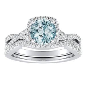 TAYLOR Halo Aquamarine Wedding Ring Set In 14K White Gold With 1.00 Carat Round Stone