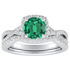 TAYLOR Halo Green Emerald Wedding Ring Set In 14K White Gold With 0.50 Carat Round Stone