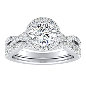 TAYLOR Halo Diamond Wedding Ring Set In 14K White Gold