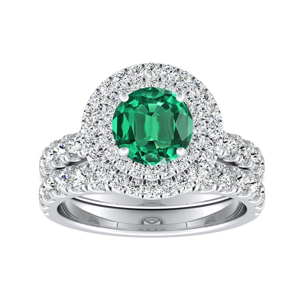 KYLIE Double Halo Green Emerald Wedding Ring Set In 14K White Gold With 0.30 Carat Round Stone
